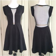 """Malloy Los Angeles Mesh Front Skater Dress Malloy Los Angeles Mesh Skater Dress »→ m »→ fits more of a small or a size 4 »→ length: 34"""" »→ polyester • spandex »→ mesh center front, mesh back, skater skirt, embossed/stamped floral design, cap sleeves »→ small hole on bottom back [pictured] »→ preloved but in great condition, worn once for a photoshoot Malloy Dresses Mini"""