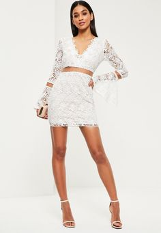 White Lace Flare Sleeve Bodycon Dress - Missguided