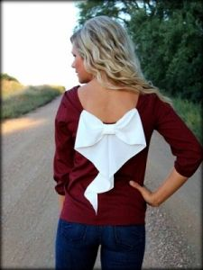 Maroon and White Plus Size Bow Back Blouse