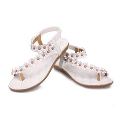 Women's Flower Beaded Sandals Clip Toe Sandals Beach Shoes * Want to know more, click on the image.