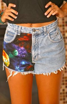 DIY, DIY, DIY. I'm inspired to make some shorts, shirts, pants... something similar to this. have to hit up the thrift shops today :)
