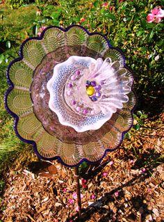 Glass garden flowers yard ard. garden by ADelicateTouch1 on Etsy