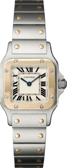 Reloj Santos de Cartier Galbée Modelo pequeño, oro amarillo, acero