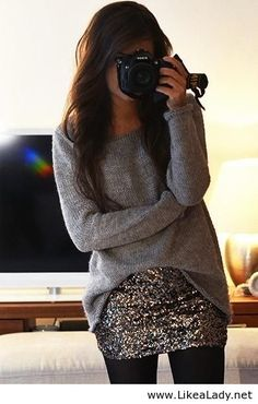 Sweater, sequins & tights