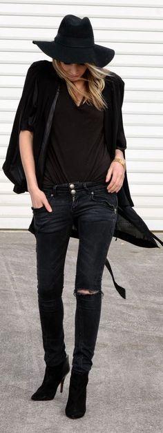 #street #fashion black denim, black everything @wachabuy