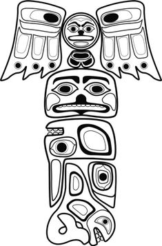 Coloring beaver totem coloring pages carving for Totem pole design template