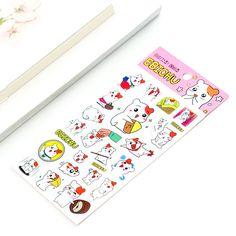 MQStyle 6Pcs/Pack Korean Cartoon Cute Kawaii EBICHU Small hamster Decorative Sticker DIY Washi Stickers Gift Stationery M0189 #Affiliate