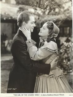 Original, vintage film still of Jeanette MacDonald and Nelson Eddy from The Girl of the Golden West (1938) - ESCANO COLLECTION