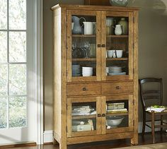 If I need more than this for my dishes, I think it's time to donate! Benchwright Glass Cabinet #potterybarn