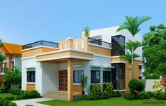 Residential modern house roof design four bedroom one sto with roof deck modern house designs small House Roof Design, Single Floor House Design, Two Story House Design, Small House Design, Modern House Design, Bungalow Haus Design, Modern Bungalow House, Duplex House, Modern House Plans