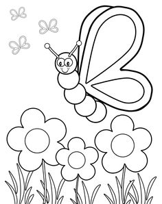 Butterfly Viewing Flowers Coloring Page
