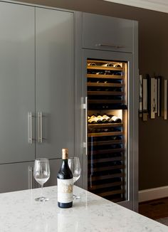 Sub Zero wine cooler has incorporated into this contemporary kitchen. Click trough for How to Store Wine High End Kitchens, Home Kitchens, Sub Zero Appliances, Kitchen Appliances, Relax, Restaurant Concept, Remodeling Contractors, Room Additions, Wine Fridge