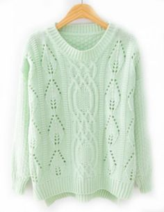 Green Long Sleeve Hollow Split Knit Sweater pictures