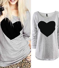 Cute Heart Love Round Neck Long Sleeve T-shirt