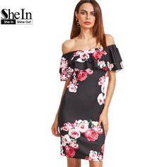 SheIn Party Dresses Women Fashion 2017 Black Floral Print Off The Shoulder Ruffle Short Sleeve Sheath Elegant Dress