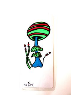 Mushroom bookmark green and red mushroom by MitchiesGalleria