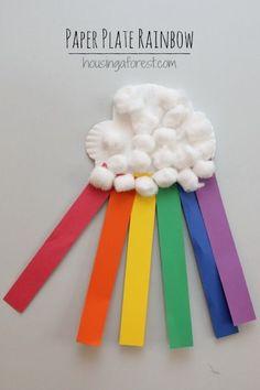 Paper Plate Rainbow Craft ~ Simple Spring Preschool Activity - Crafts for Kids Preschool Art Projects, Daycare Crafts, Toddler Crafts, Preschool Activities, Crafts For Kids, Arts And Crafts, Color Activities, Kids Diy, Craft Projects