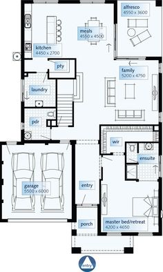 Brilliant Homes will take your ideas / Home Designs & convert them to House Plans allowing you to have a Custom Home Design that fits your budget. House Plans Australia, 2bhk House Plan, Double House, Craftsman Floor Plans, 2 Storey House, Modern House Plans, Home Decor Styles, Ground Floor, Luxury Homes