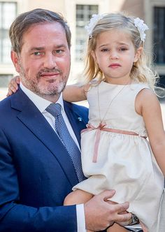 Chris O'Neill and daughter Princess Leonore of Sweden arrive for a thanksgiving service on the occasion of The Crown Princess Victoria of