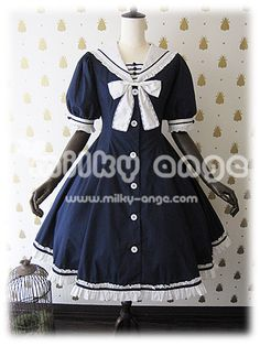 Milky Ange Lynett One Piece. This navy blue sailor lolita one piece is so cute. It has a ruffle, tiered skirt down the back in white and comes with detachable sleeves.
