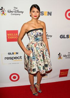 Nina Dobrev stunned on the red carpet wearing a Giorgio Armani dress to attend the GLSEN Respect Awards in Los Angeles. #ArmaniStars