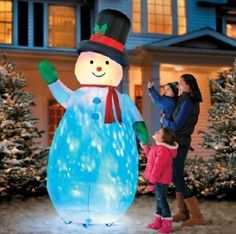 8' Kaleidoscope Snowman Airblown Inflatable Outdoor Christmas Decor Yard Art