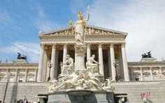 The Pallas Athena fountain in Vienna, Austria, honors the Greek goddess of wisdom, law, and justice.