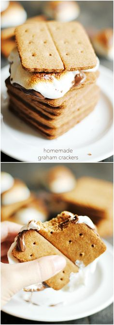 Homemade Graham Crackers are so easy to make and taste so much better than store-bought! And they make the very best S'mores..