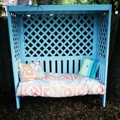 The kids would flip and probably fight over who gets to sit here!  reading/relaxing retreat for the backyard - diy project
