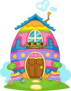 Illustration of an Easter Egg Themed House