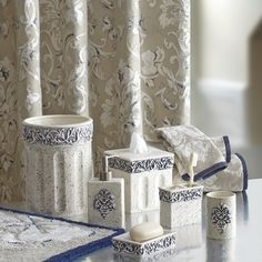 Add A Chic Fresh Touch To Your Bathroom With The Natalia Bathroom Collection.  The Beautiful Bathroom Accessories Feature Embossed Blue Damask Scroll  Motifs ...