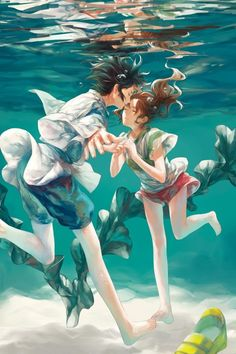 Haku and Chihiro Spirited Away Hayao Miyazaki Art Hayao Miyazaki, Totoro, Anime Love, Film Animation Japonais, Spirited Away Haku, Manga Anime, Anime Kiss, Chihiro Y Haku, Couples Anime