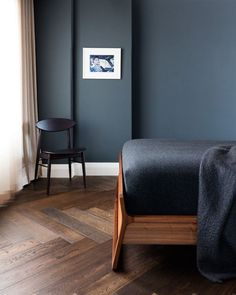 Dark walls combined with natural flooring make for an ultra modern look in your home. Adding vintage mid century furniture really adds a sense of luxury and elegance to any modern interior scheme. House Design, Interior Design, House Interior, Bedroom Interior, Home, Home Bedroom, Modern Bedroom, Home Decor, Mid Century Modern Bedroom