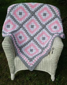 Pink and Grey Granny Square Baby Blanket Crochet Baby Blanket Baby Blanket Granny Square Handmade Ready to Ship TC Deste Savran Granny Square Blanket, Granny Square Crochet Pattern, Crochet Granny, Granny Squares, Free Crochet, Baby Afghan Crochet, Crochet Quilt, Crochet Blanket Patterns, Crochet Shawl