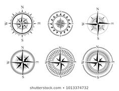 Similar Images, Stock Photos & Vectors of Vector antique compasses with ornate dials for use as design elements in vintage or retro nautical and marine concepts, black and white - 226258699 Fish Vector, Dog Vector, Free Vector Images, Vector Free, Watermelon Drawing, Mandala Compass Tattoo, Chicken Vector, Christmas Tree Collection, Wind Rose