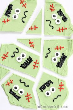 Easy Frankenstein chocolate bark! A fun food treat idea for Halloween and an easy party food idea. Halloween chocolate bark is always a hit.