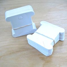 Blank Cardboard Bobbins Small White Paper Cards for Scrapbooking, Lace, Ribbon, Thread