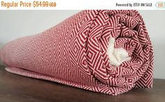 ON SALE Natural Cotton blanket  Red Blanket throw  by CottonMood