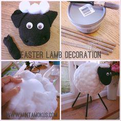 lamp howto1 Bárány dekoráció hungarocell labdából, vattapamacsokból és Apa zoknijából :)
