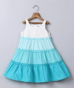 Loving this Blue Ombré Tiered A-Line Dress - Newborn, Infant, Toddler & Girls on Little Girl Dresses, Girls Dresses, Dresses For Work, Frock Patterns, Baby Girl Patterns, Infant Toddler, Toddler Girls, Princess Outfits, Tiered Dress