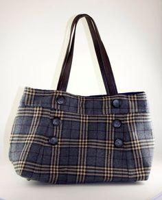 Classic Gray Plaid Upcycled Skirt Bag by helenshandbags on Etsy