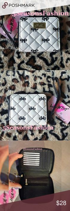 """🎀 BETSEY JOHNSON Mini Wallet Embroidered Bows BRAND NEW WITH TAGS! 🔥Hot Trend🔥Embroidered bows mini wallet from Betsey Johnson. Featured diamond quilted design. FAUX LEATHER. Zip around style. Coin zipper pouch, id slot, credit card slots and cash pocket area. LUV Betsey collection. Measures 5""""Lx4""""H 💕🔥💋💕🔥 Betsey Johnson Bags Wallets"""