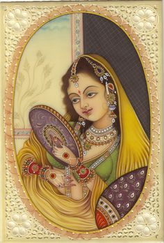 Mughal Paintings, Persian Miniatures, Rajasthani art and other fine Indian paintings for sale at the best value and selection. Mughal Paintings, Tanjore Painting, Indian Paintings, Miniature Portraits, Miniature Paintings, Indian Artwork, India Art, Traditional Paintings, Mellow Yellow