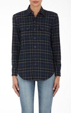 SAINT LAURENT Nashville Plaid Flannel Blouse. #saintlaurent #cloth #blouse