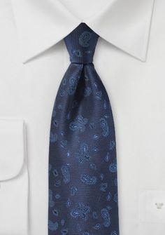 Krawatte Paisley-Muster leichtblau nachtblau