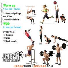 15 inverted pull ups, run 200m, 20 wall ball shots, 20 row rings, 15 burpees, 12 dips, 10 back squats