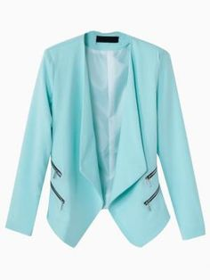 Shop Blue Slim Zipper Decorative Blazer from choies.com .Free shipping Worldwide. Via @jseverydayfash fantastic color, love the lapels and especially the zippers