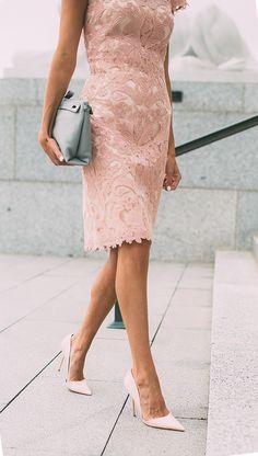 Tadashi Shoji pink lace dress & Kurt Geiger 'Bond' d'Orsay pumps #StreetStyle