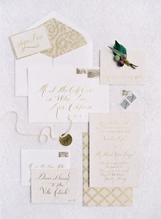 Wedding Invitations & Calligraphy by ADayInMay.com & TaraJones.com - Jose Villa Photography - See more on  http://www.StyleMePretty.com/2014/03/26/an-italy-workshop-the-wedding-inspiration/ - josevillablog.com - #SMP