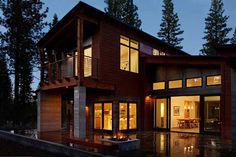 sagemodern prefab home - Truckee, deck and fire pit.